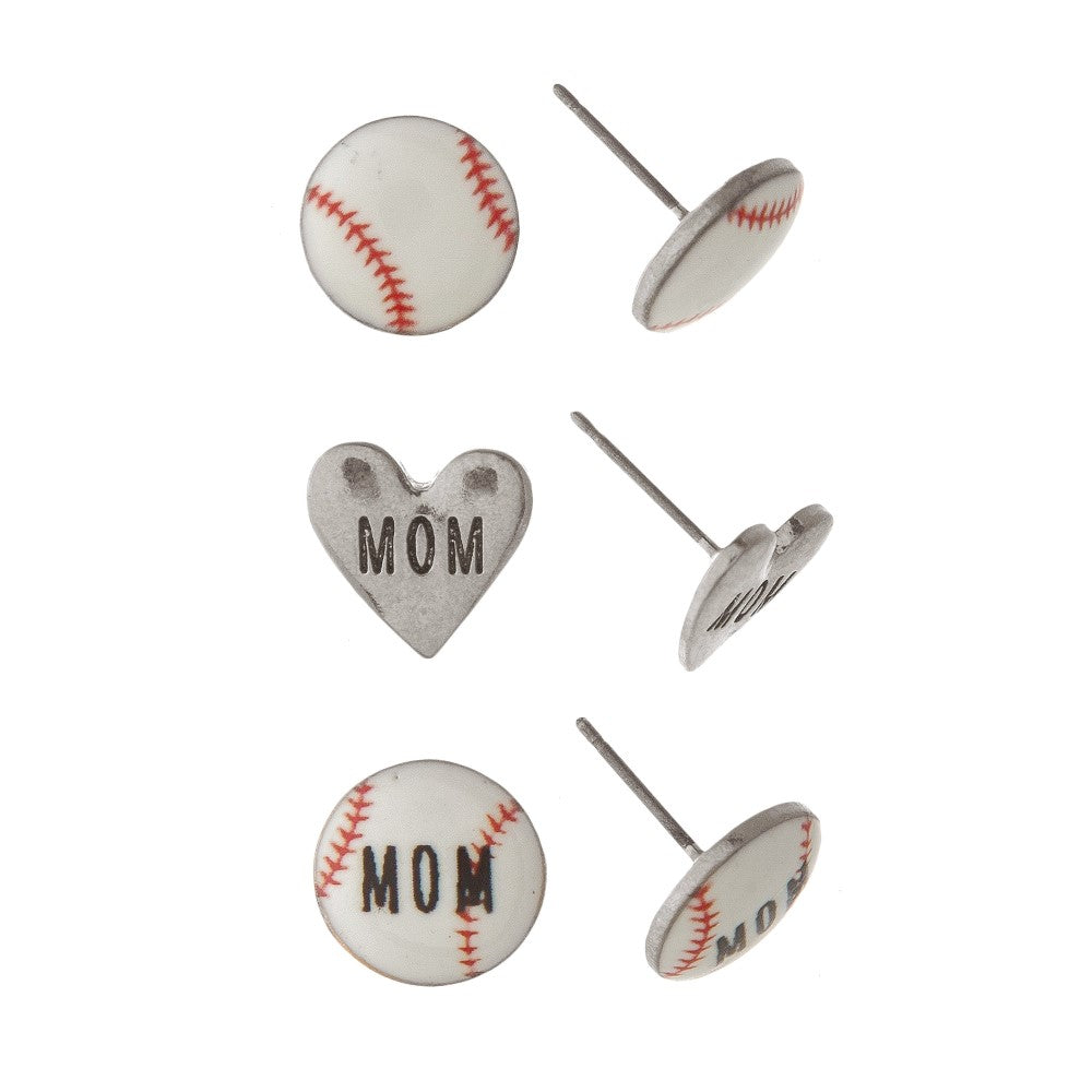 Baseball Mom Earring Set