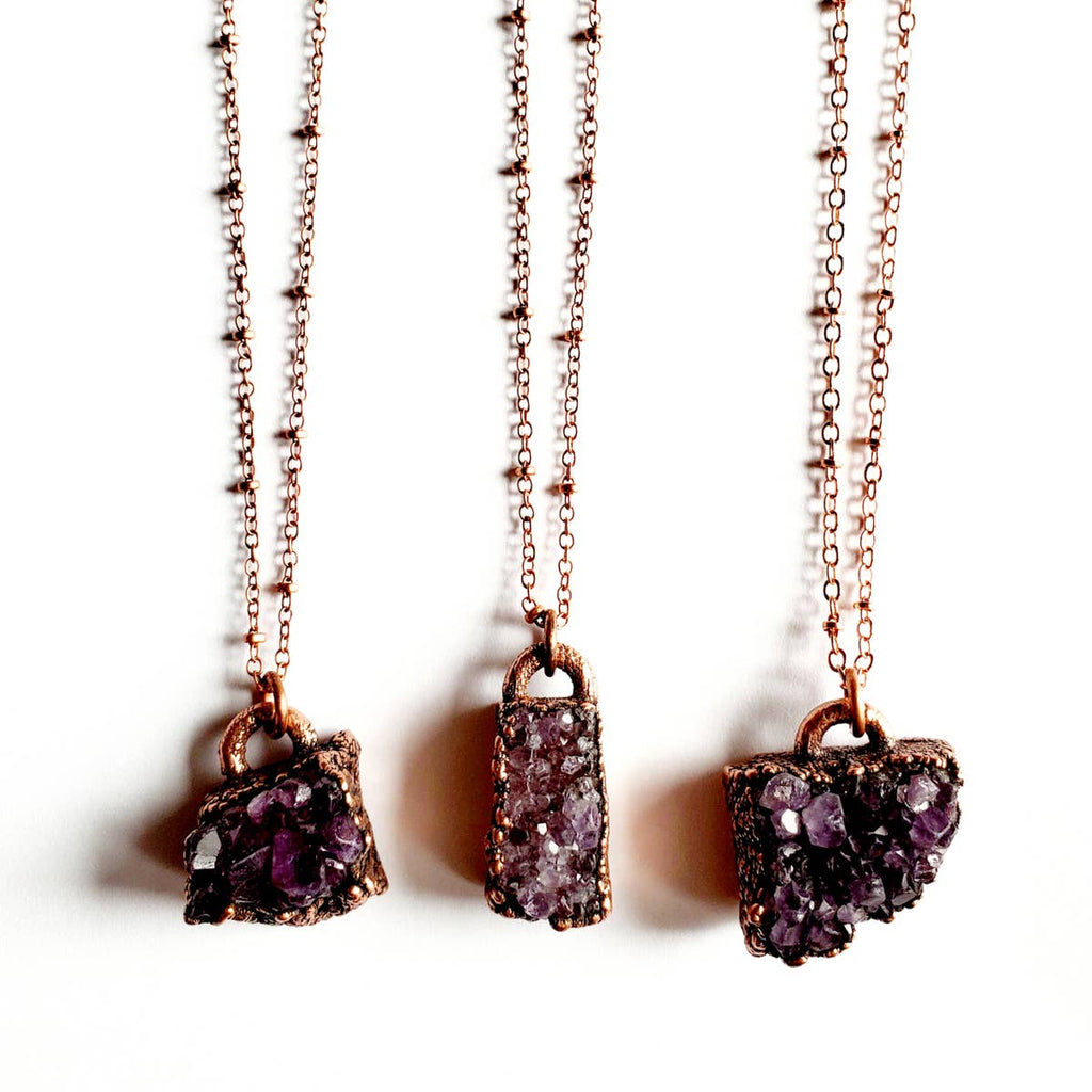 Freeform Amethyst Crystal Cluster Necklace
