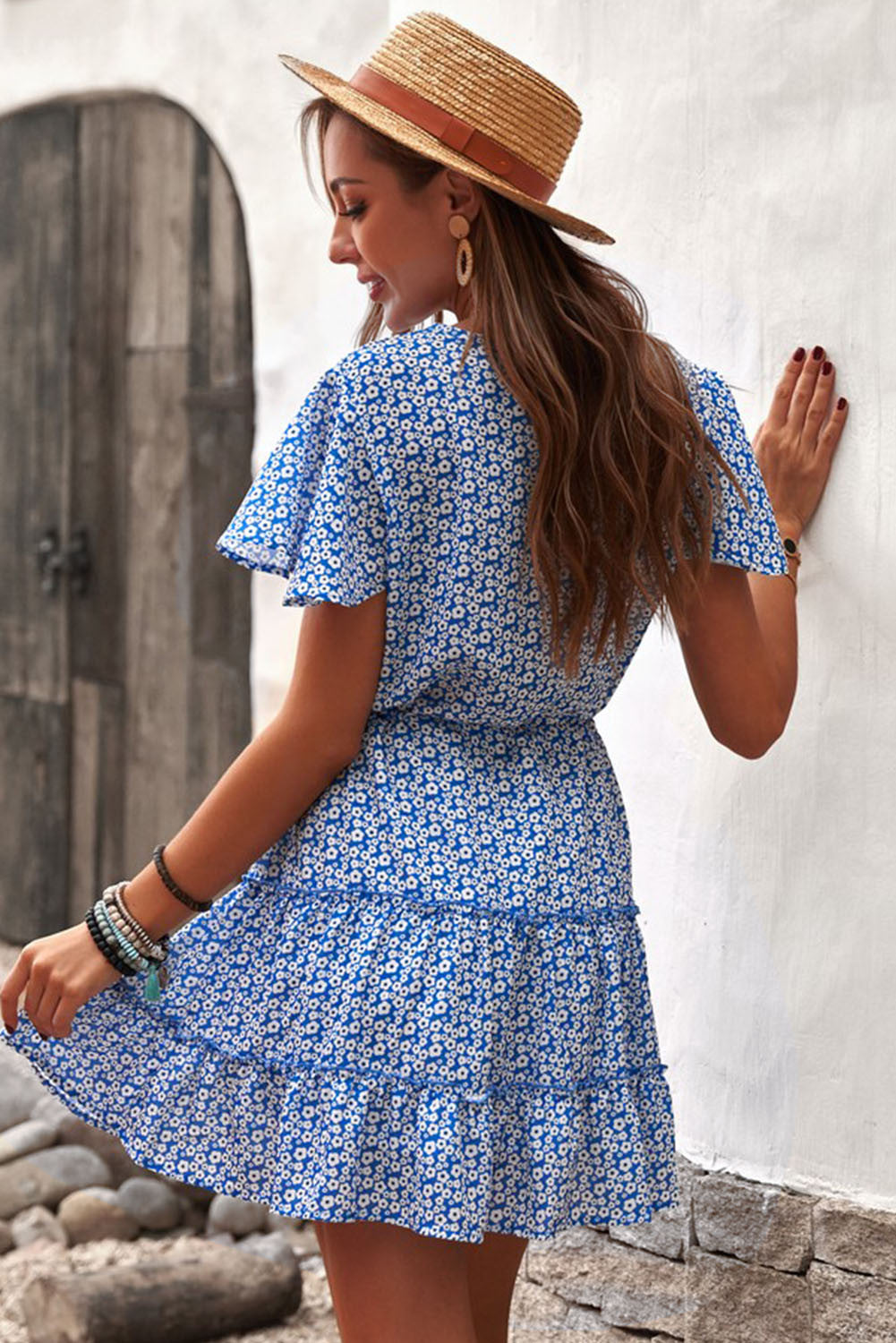 Blue V Neck Short Sleeve Layered Ruffled Floral Dress