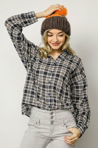PLAID COLLARED BUTTON DOWN SHIRT TOP