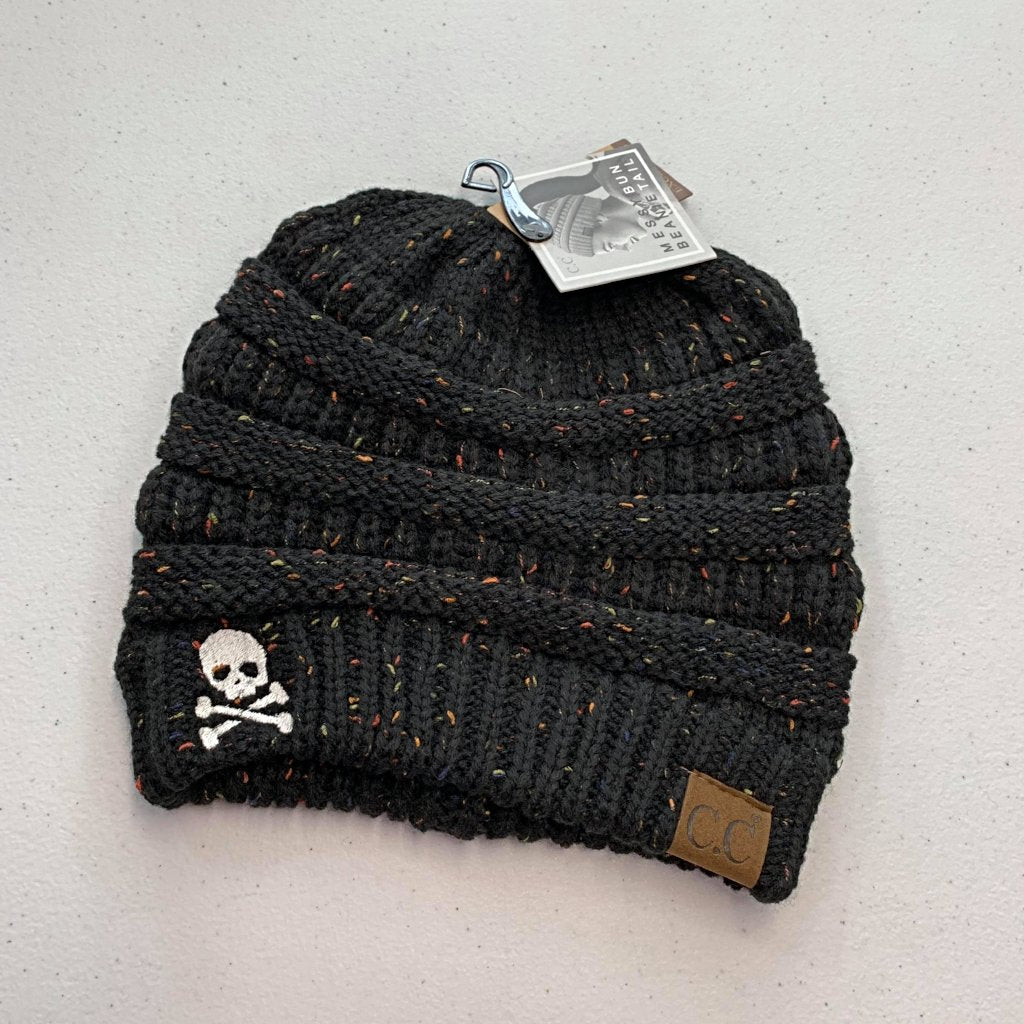 Skull & Crossbones Women's Flecked CC Beanie Tail