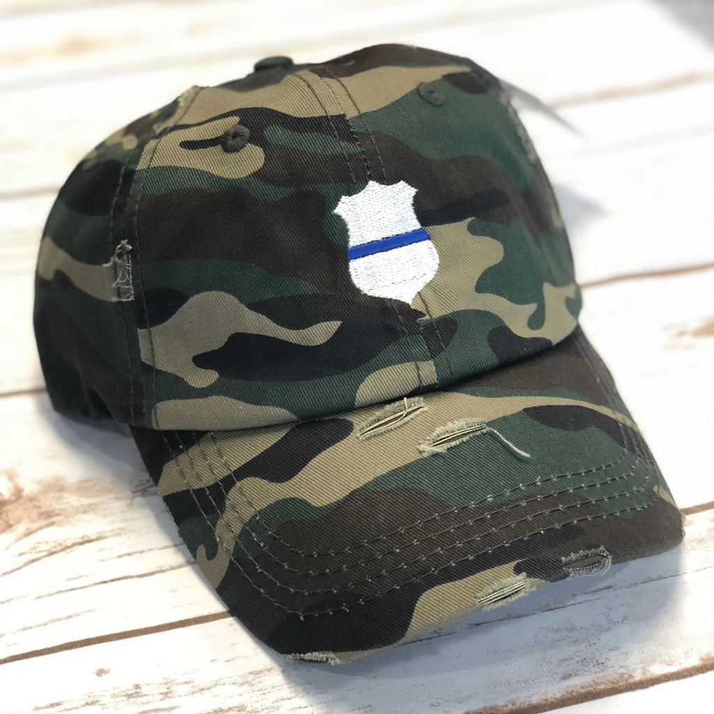 Camo Thin Blue Line Badge Ponytail Hat