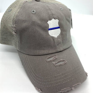 Vintage Gray Thin Blue Line Badge Ponytail Cap