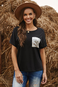 Sequin Pocket Black Short Sleeve T-shirt