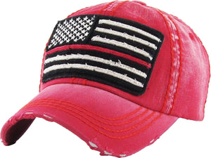 Thin Red Line American Flag Vintage Ballcap