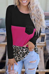 Rosy Leopard Print Color Block Sequin Pocket Top