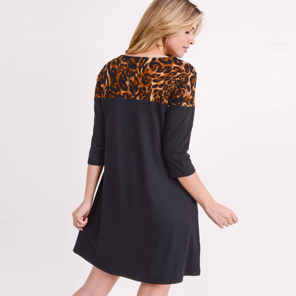 Black A-Line Tunic Dress Featuring Leopard Print Shoulder Detail