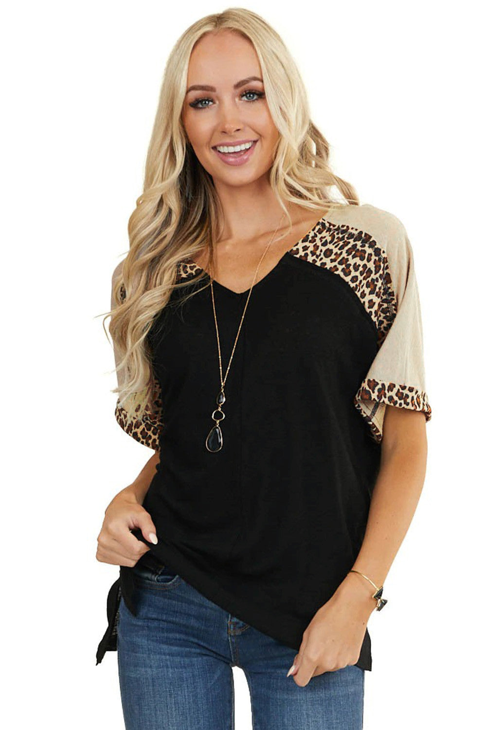 Leopard Print Color Block Sleeves Patchwork Tunic Top