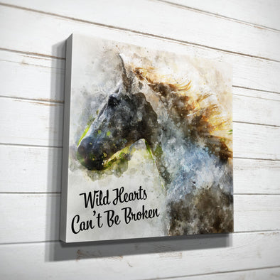 Wild Hearts Can't Be Broken Horse Wood Frame Canvas