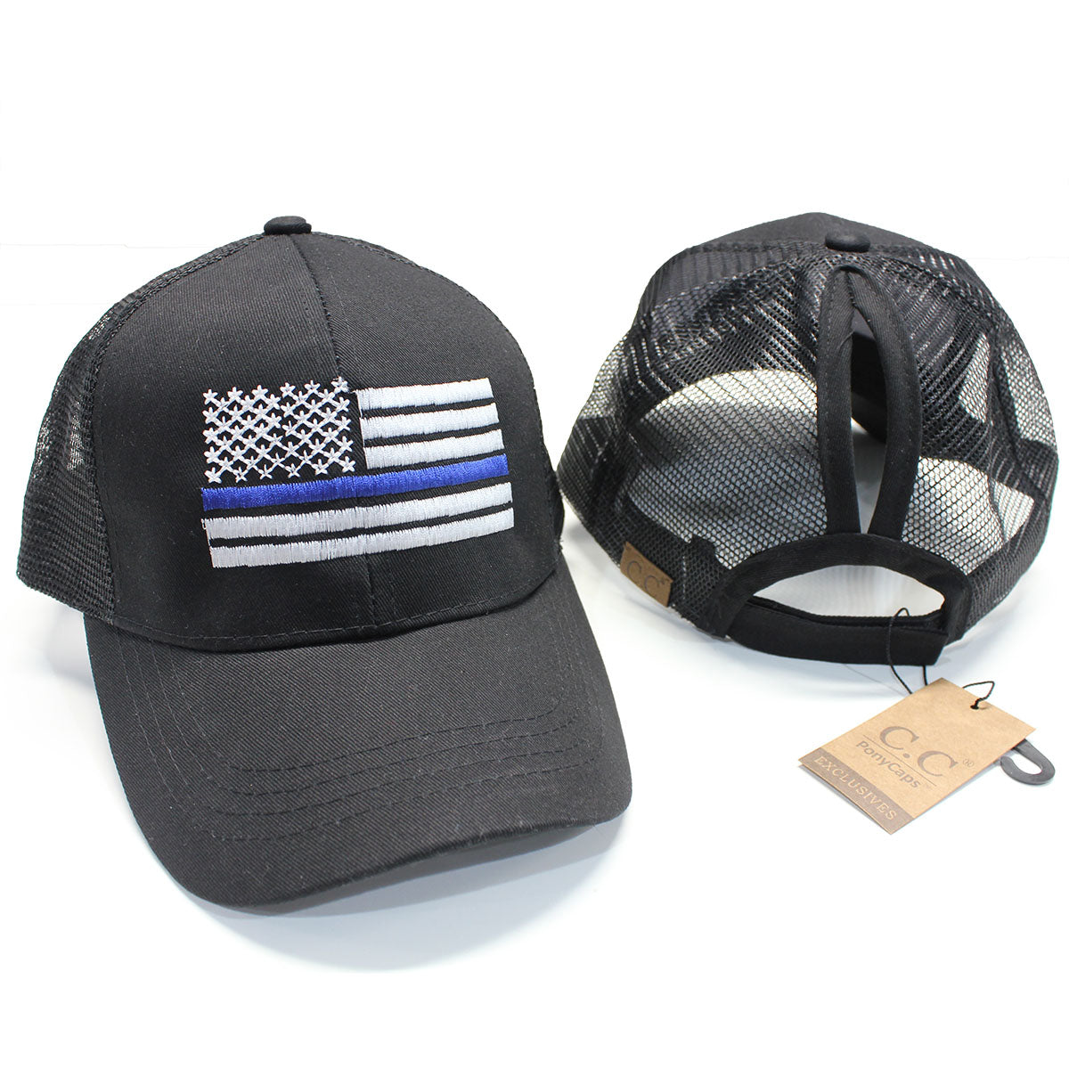 Ponytail Thin Blue Line American Flag Hat