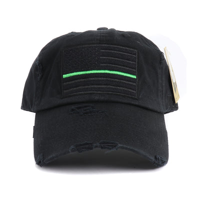 Vintage Thin Green Line Patch Dad Hat