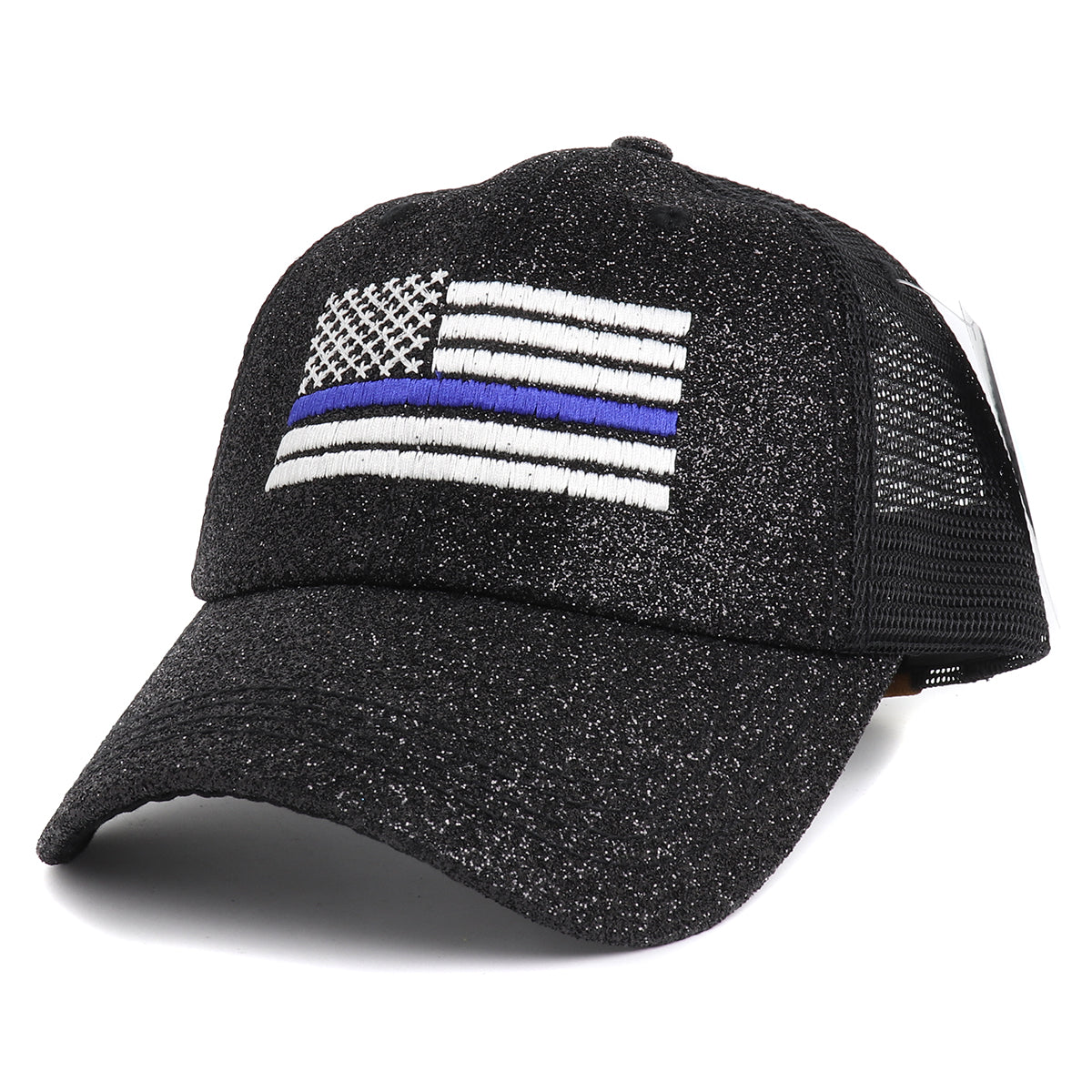 Thin Blue Line American White Flag Women's Ponytail Mesh Glitter Hat