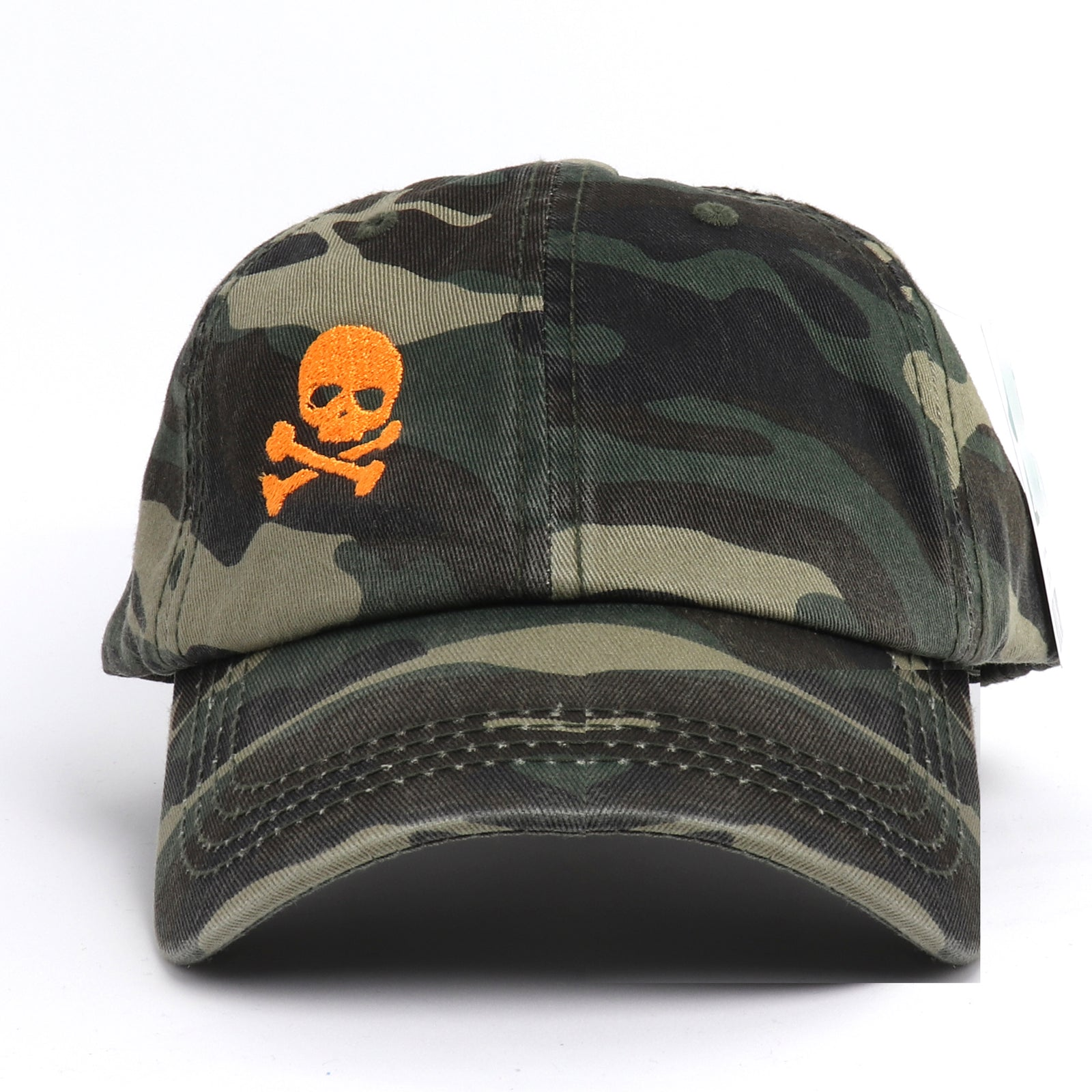 Skull and Crossbone Vintage Camouflage Baseball Cap