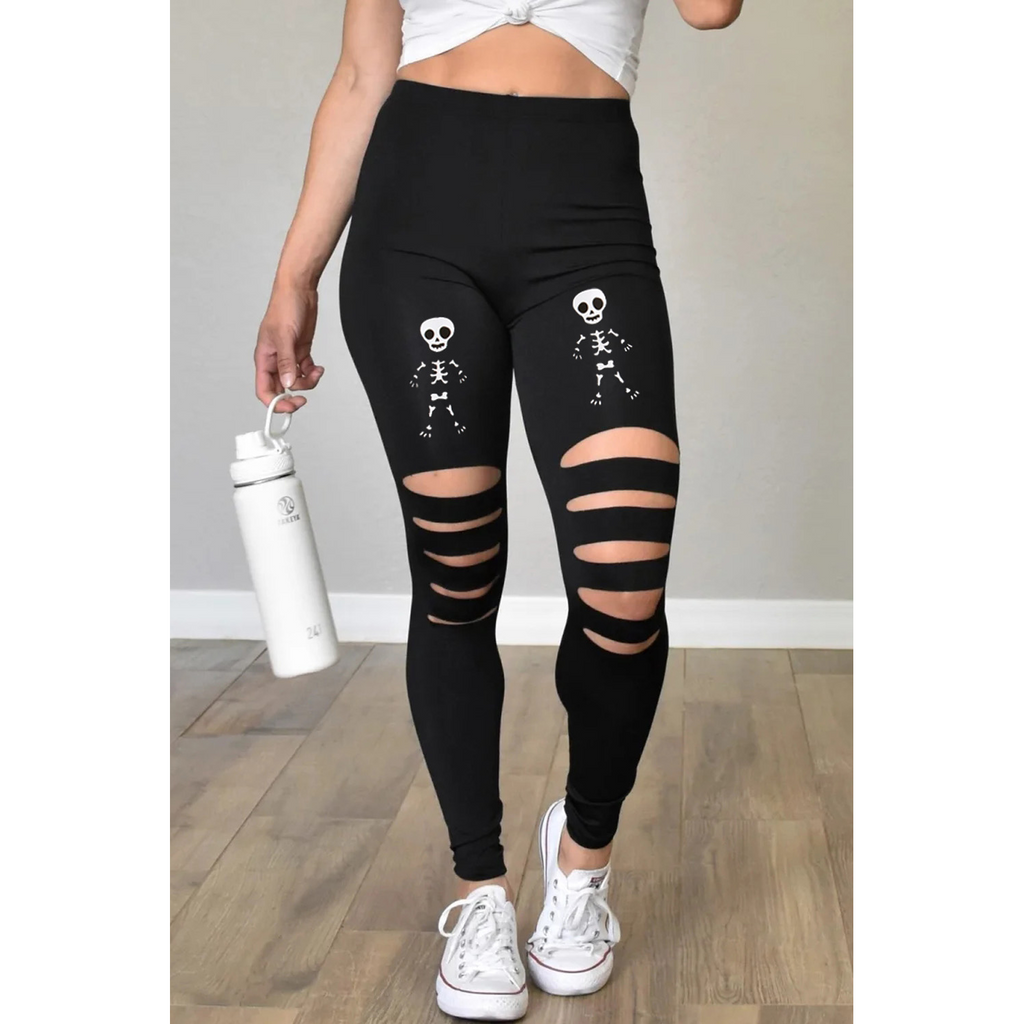 Black Cut-Out Skeleton Print Leggings