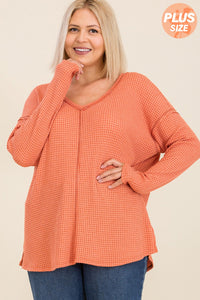 Rust Long Sleeve Plus Size Top