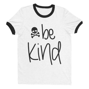 Skull & Crossbones Be Kind Ringer Tee