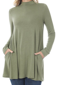 LIGHT OLIVE LONG SLEEVE MOCK NECK TOP