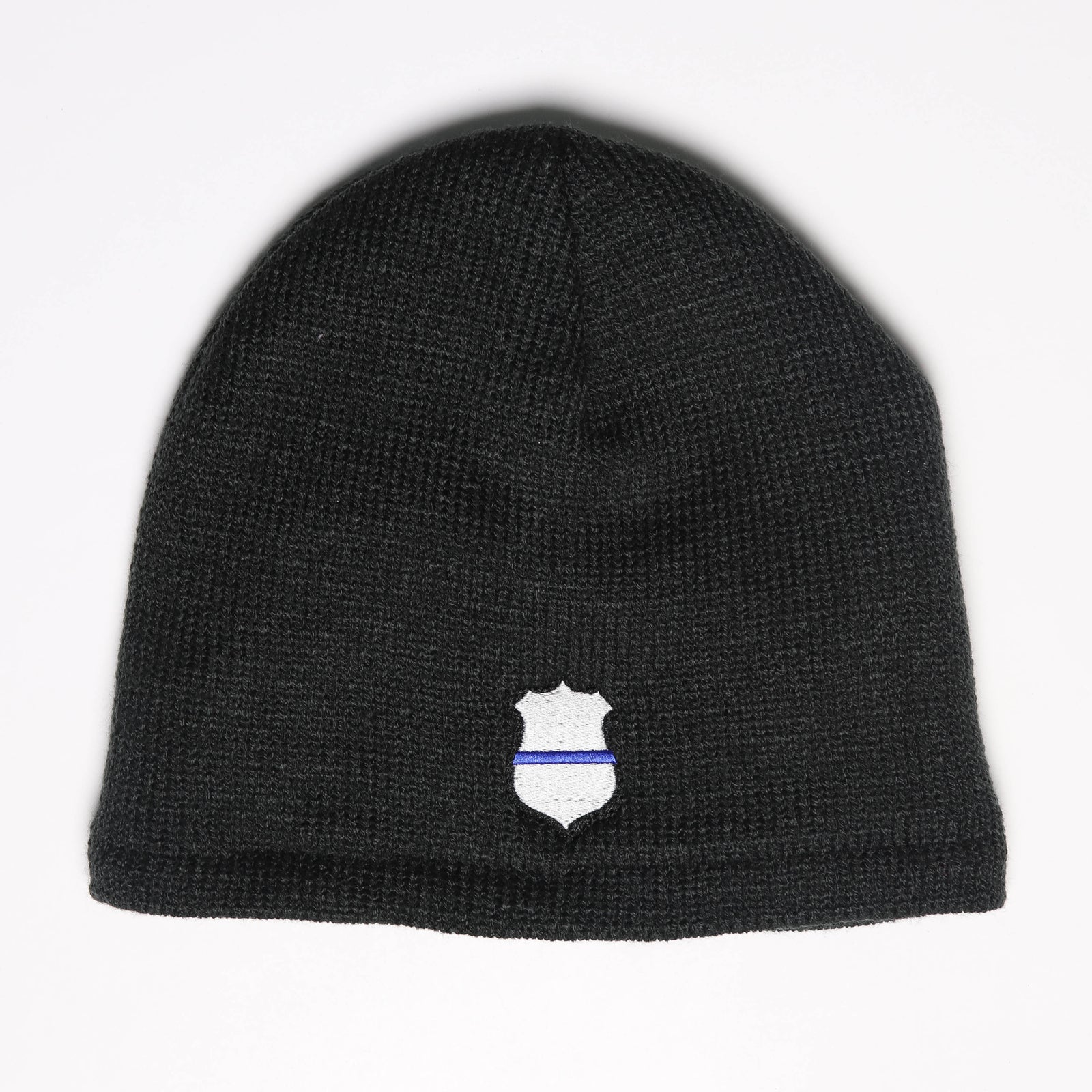 Thin Blue Line Badge Fleece-Lined Beanie Cap