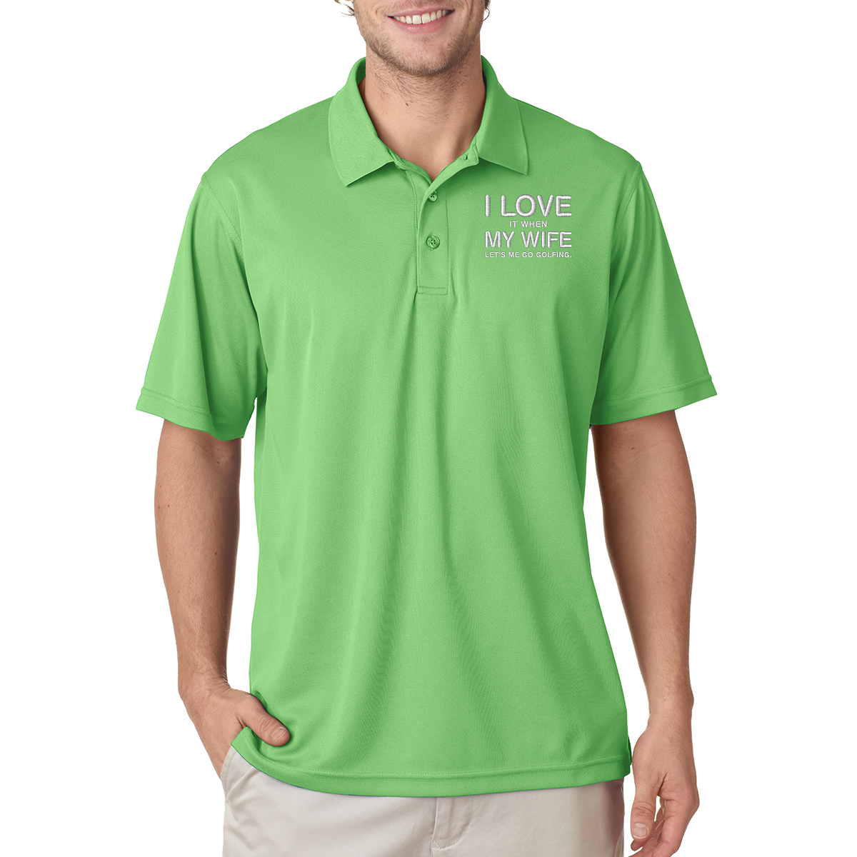 I Love My Wife Golf Polo