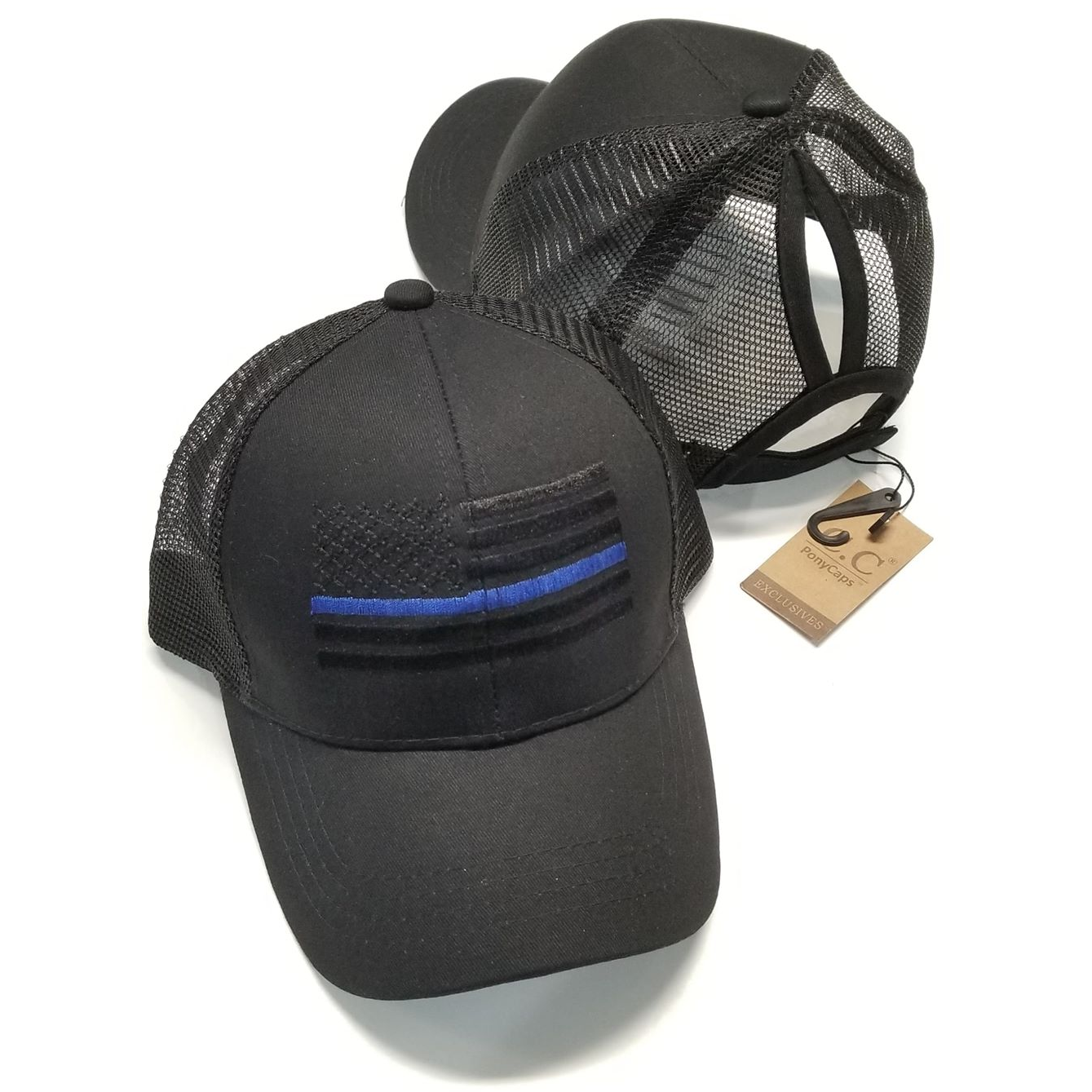 Ponytail Thin Blue Line Flag Hat – Shop With Cre 23a0bd6cbac