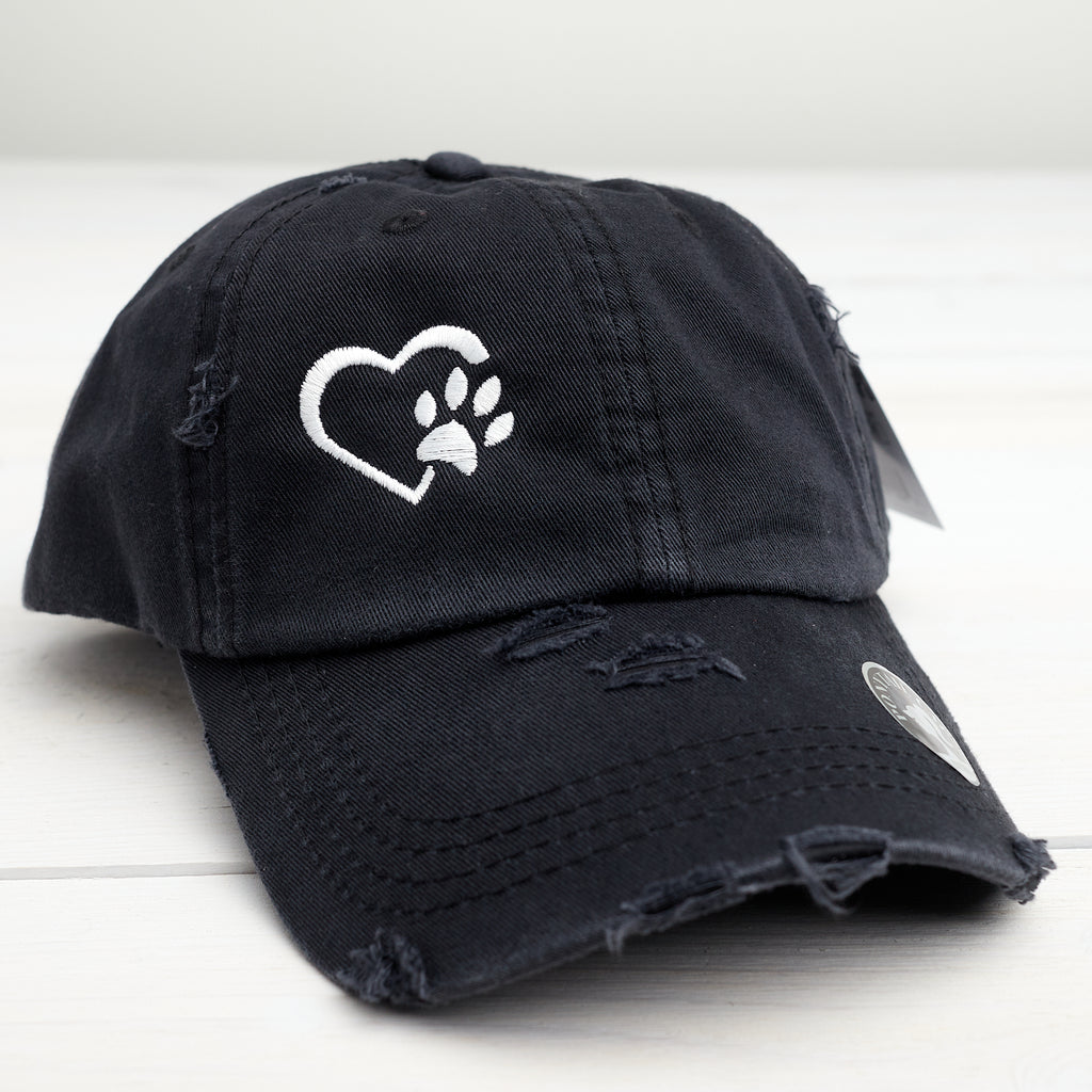 Heart Paw Ponytail Washed Cotton Cap