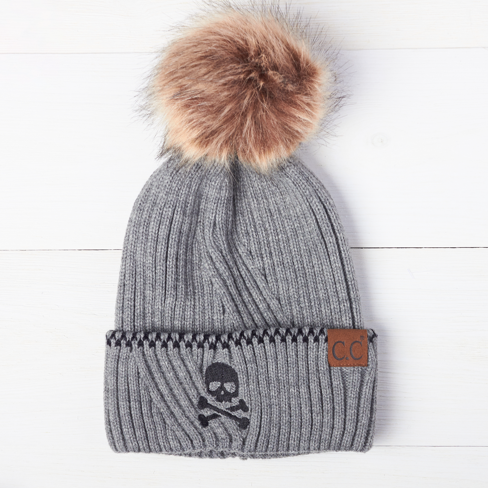 Skull & Crossbones Ribbed Knit Beanie With Accented Cuff