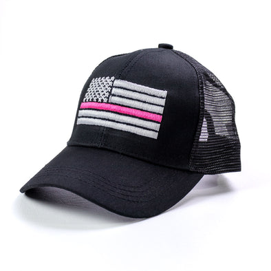 Ponytail Thin Pink Line Flag Hat