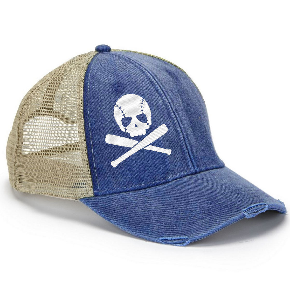 Baseball Skull Trucker Hat