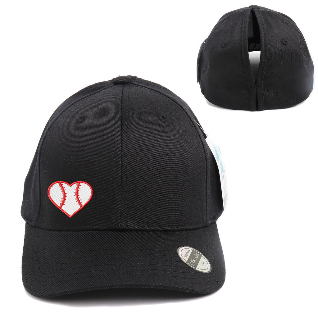 Baseball Heart Ponytail Spandex Headband Hat