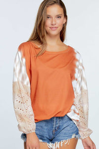 Oversize Top with Tie Dye Laced Sleeves