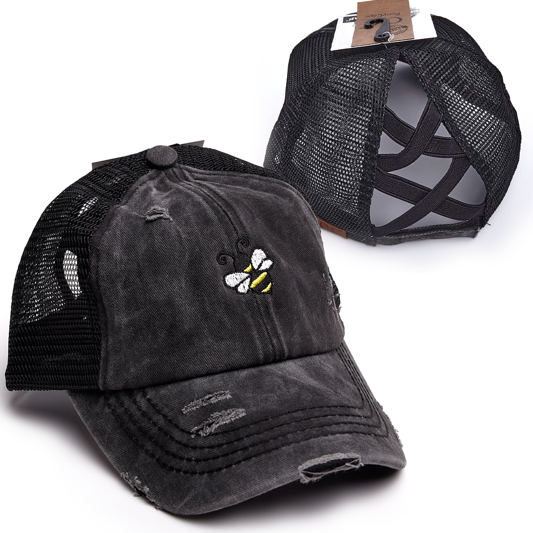 Bee Criss Cross High Ponytail Hat