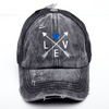 Thin Blue Line Love Arrows Criss Cross High Ponytail Hat