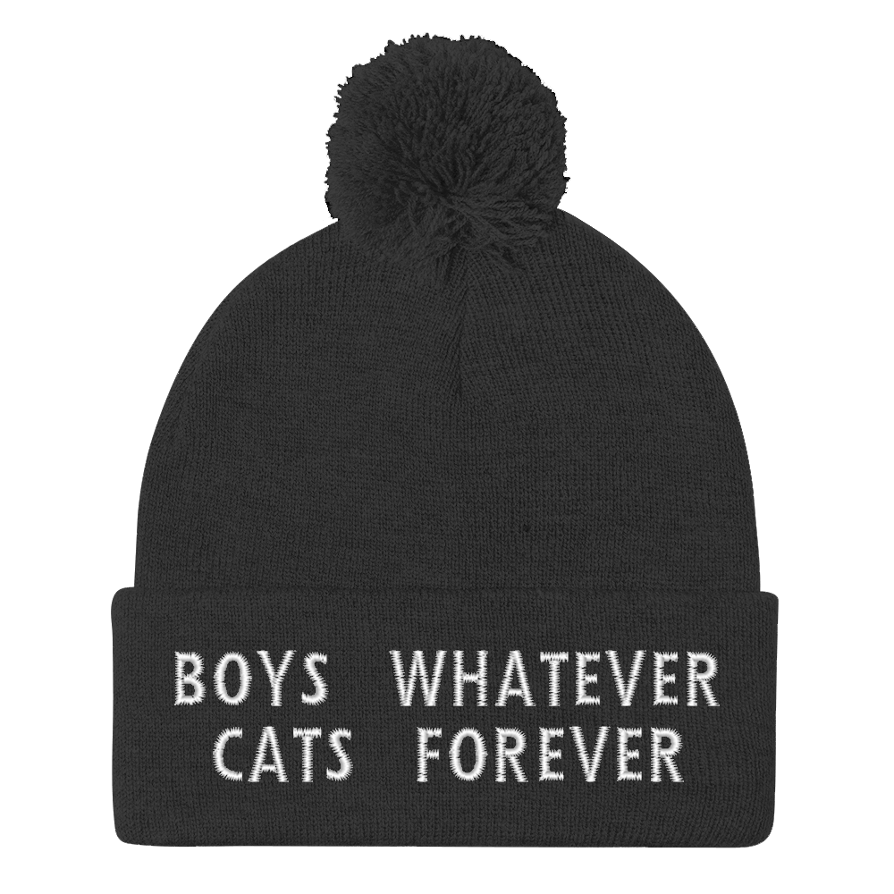 Boys Whatever Cats Forever Pom Pom Beanie
