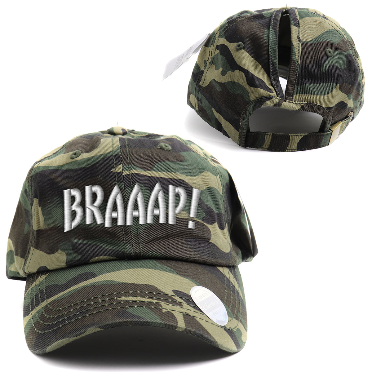 Braaap Camo High Ponytail Hat