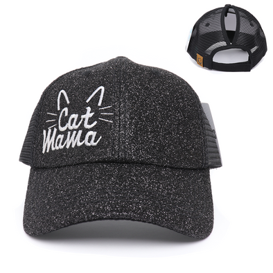Cat Mama Ponytail Glitter Mesh Hat
