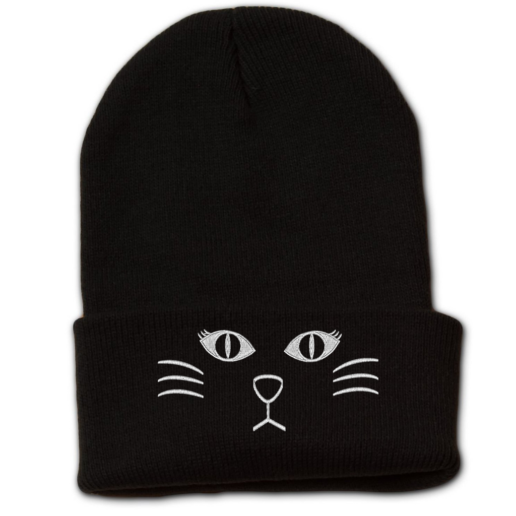 Cat Face Beanie With Cuff