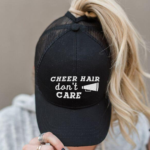 Ponytail Cheer Hair Don't Care Megaphone Hat