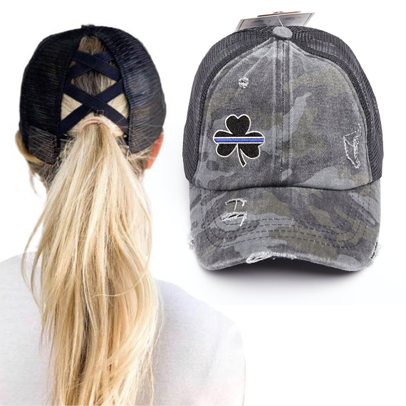 Thin Blue Line Clover Washed Denim Criss Cross High Pony Ball Cap