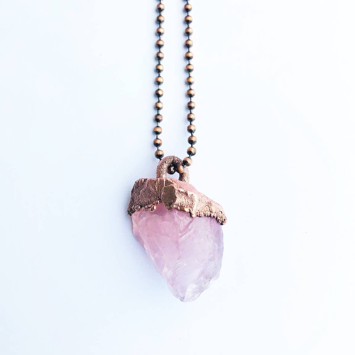 Raw Rose Quartz Crystal Necklace