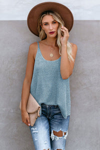 Sky Blue Knitted Cami Tank Top