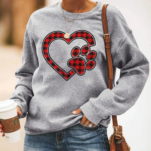 Plaid Heart Paw Sweatshirt