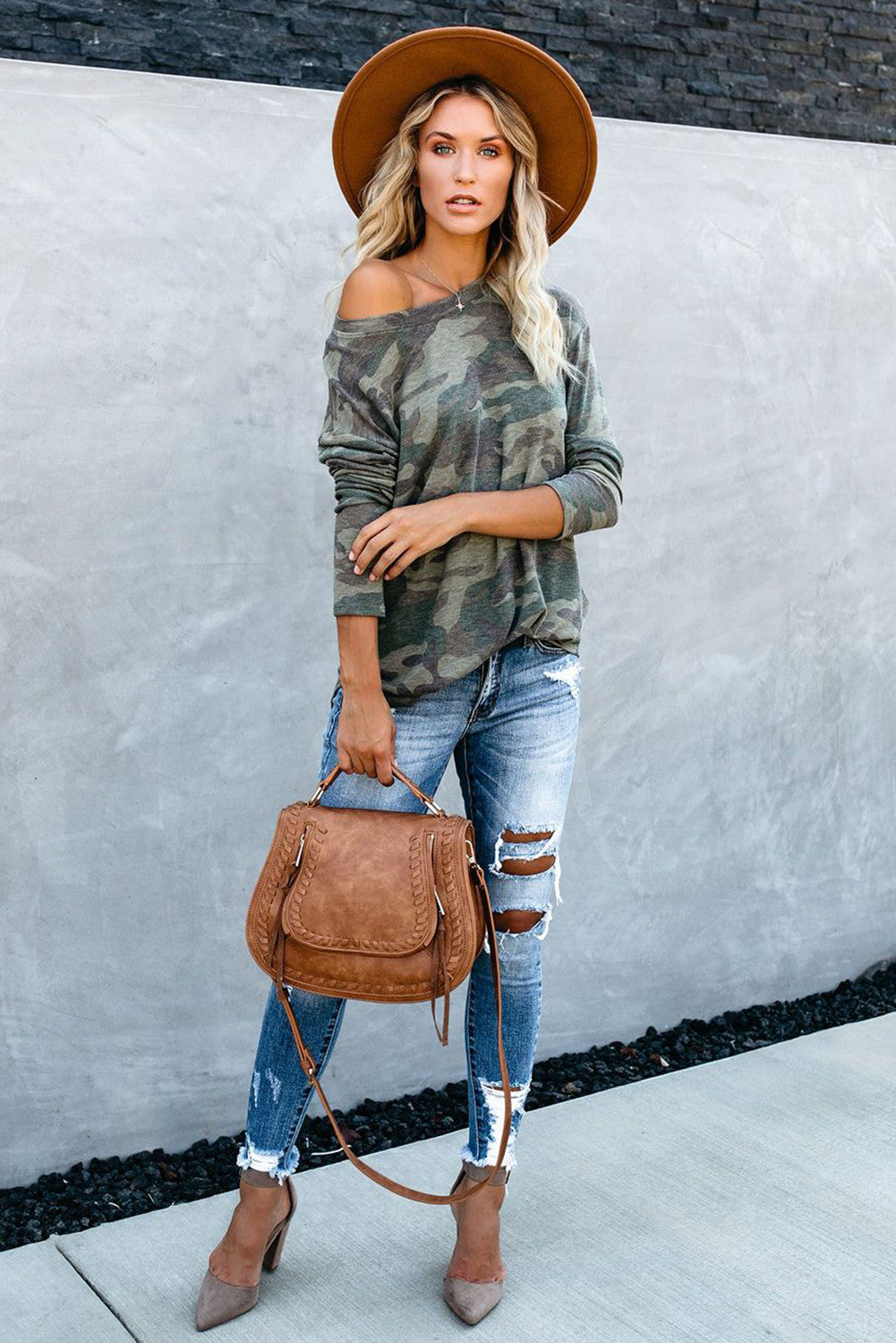 Green Camo Print Long Sleeve Top