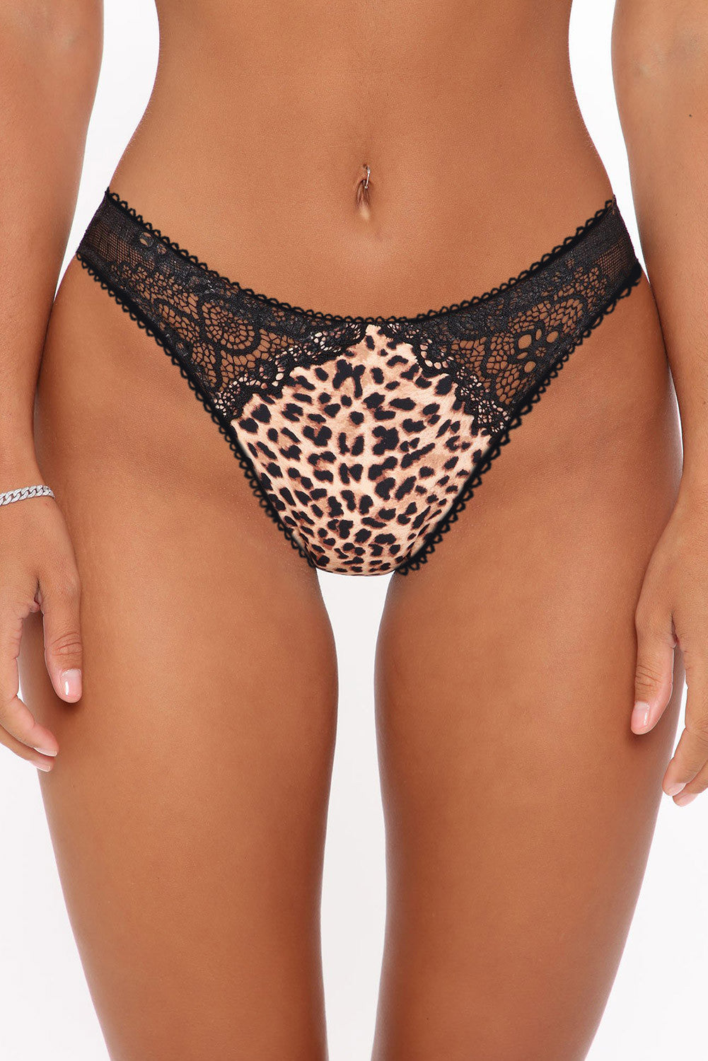 Animal Leopard Lace Patchwork Hollow Out Wild Panty