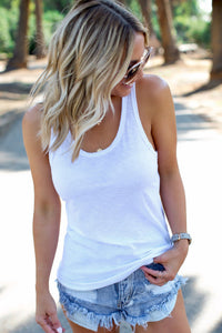 White Scoop Neck Basic Solid Tank Top