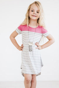 Rose Colorblock Patchwork Striped Girls' Dress