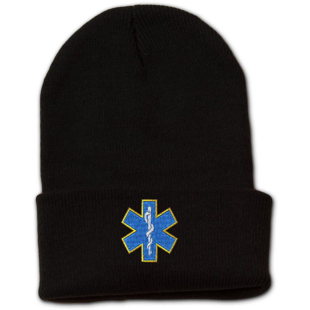 Star of Life Embroidered Beanie with Cuff