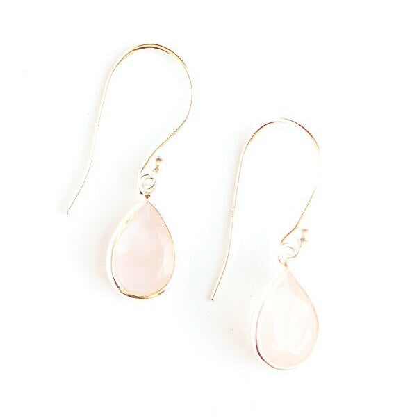 Raindrop Sterling Earrings - Rose Quartz