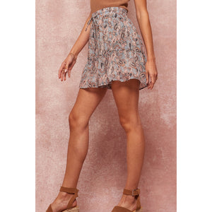 Ruffled Paisley-Print Drawstring Pocket Skort