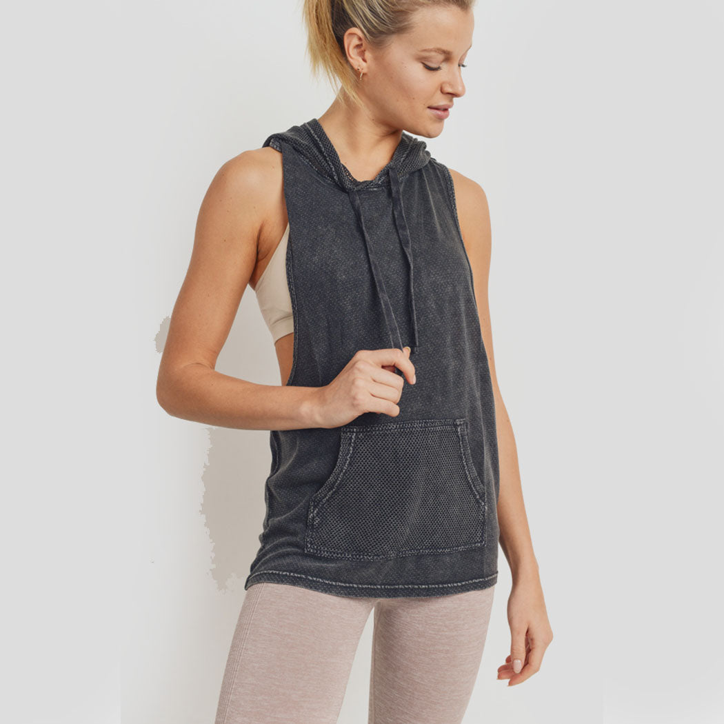 Hoodie Mineral Wash Dot-Textured Mesh Hybrid Muscle Tank