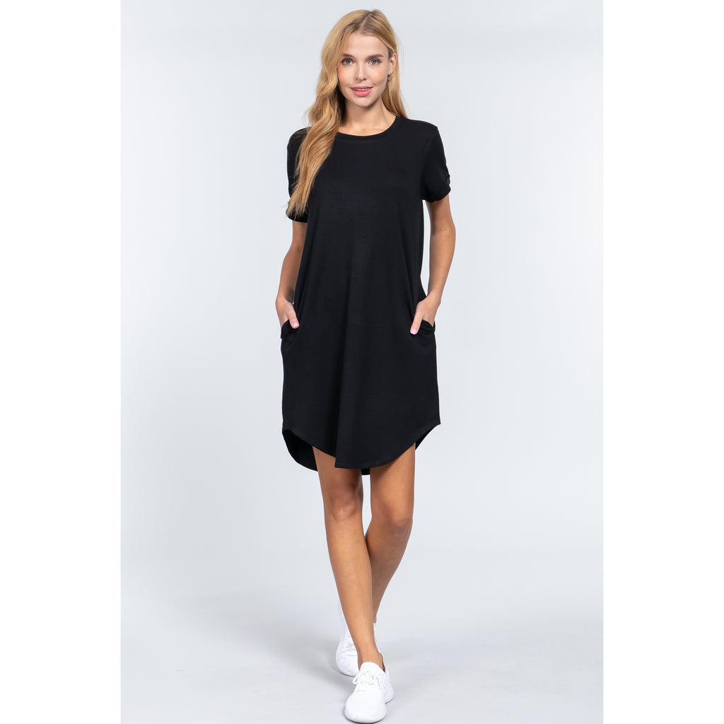 FITTED SHORT SLEEVE w/CUFF ROUND NECK SIDE DRESS